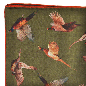 Pheasant Reversible Panama Silk Pocket Square in Forest Green
