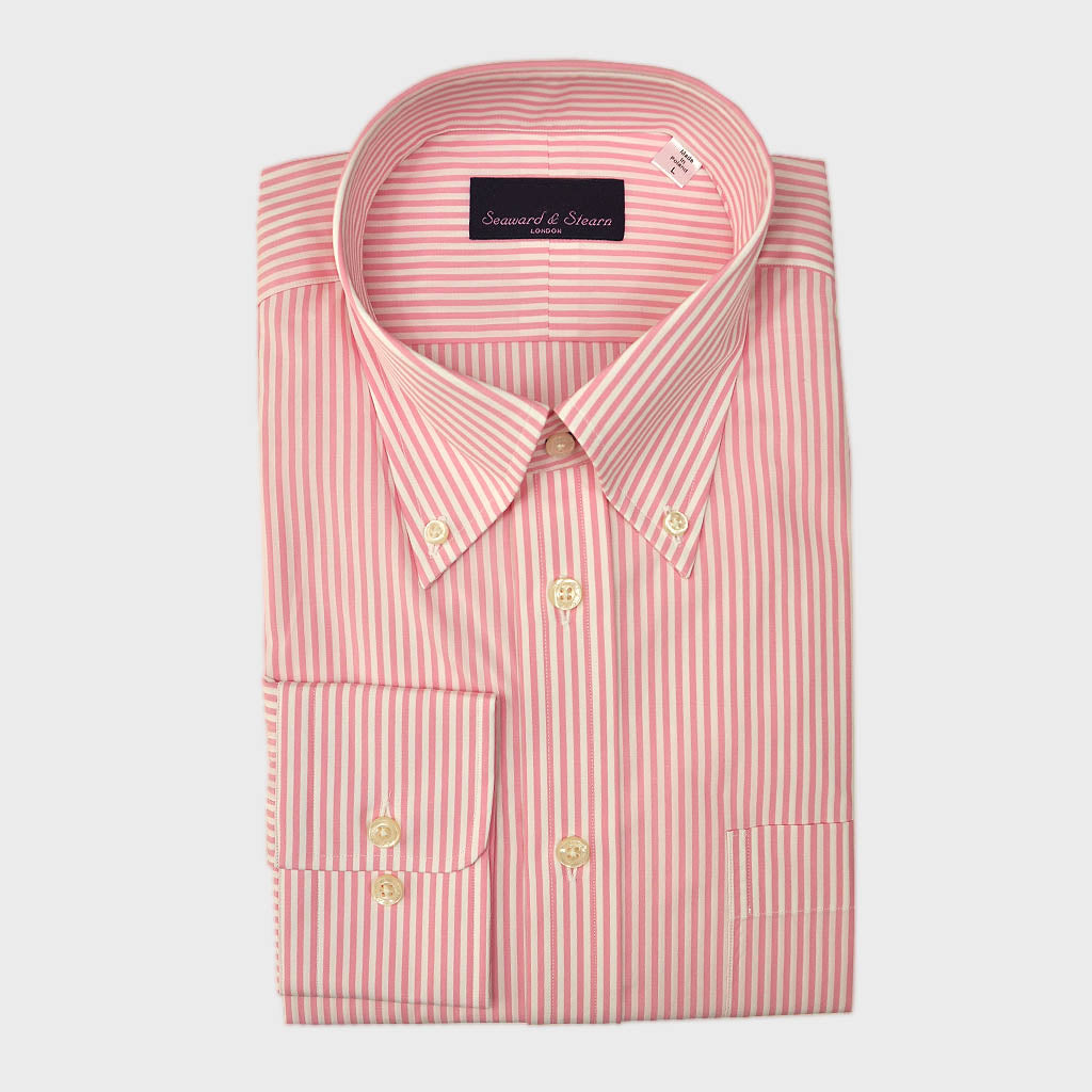 Button Down Pink Classic Stripe Cotton Shirt