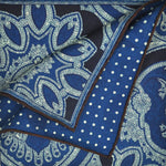 Reversible Paisley & Polka Dot Panama Silk Pocket Square in Navy & Royal Blue