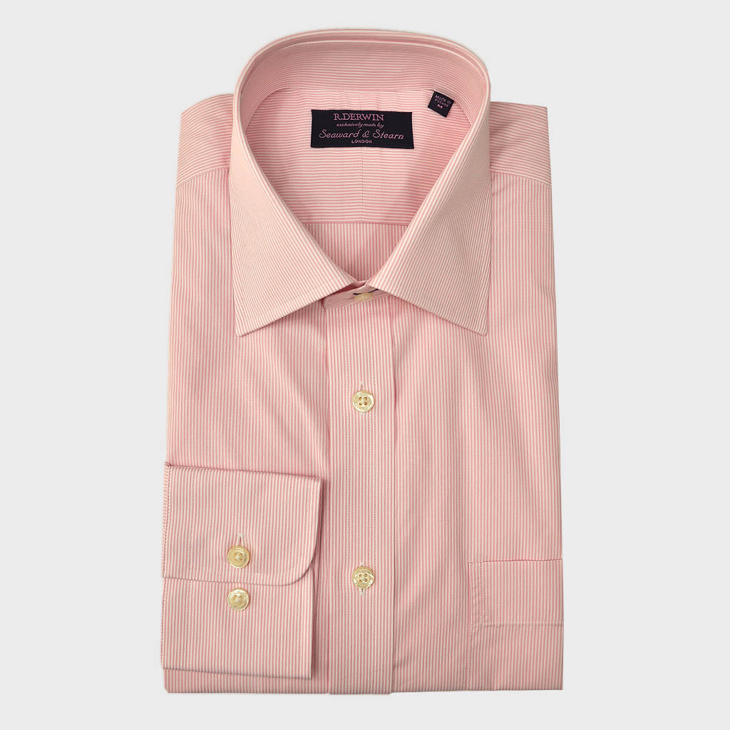 Classic Collar Pink Pin Stripe Cotton Shirt