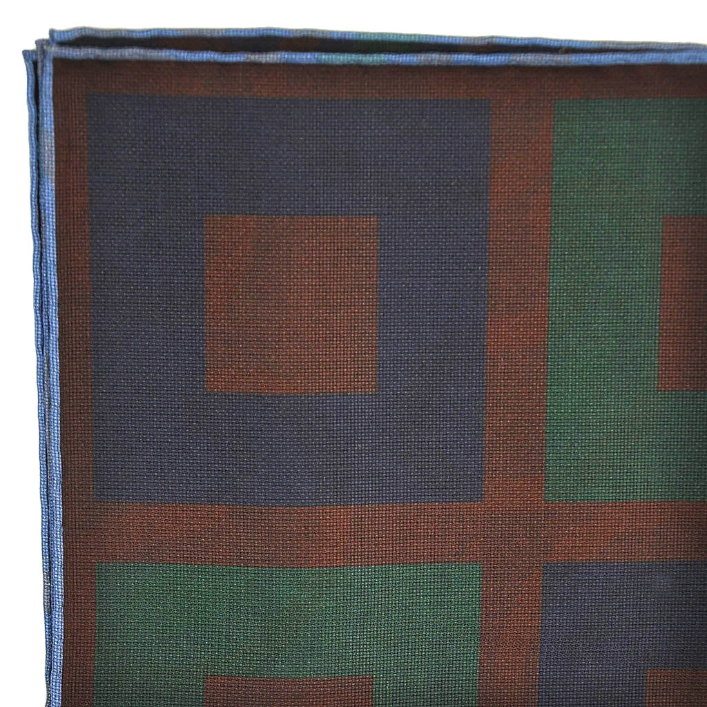 Big Squares Reversible Panama Silk Pocket Square in Navy & Brown