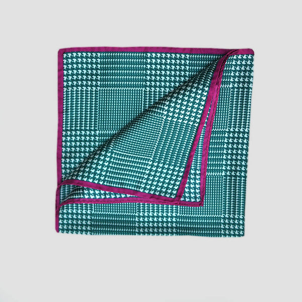 English Silk Houndstooth Check Pocket Square