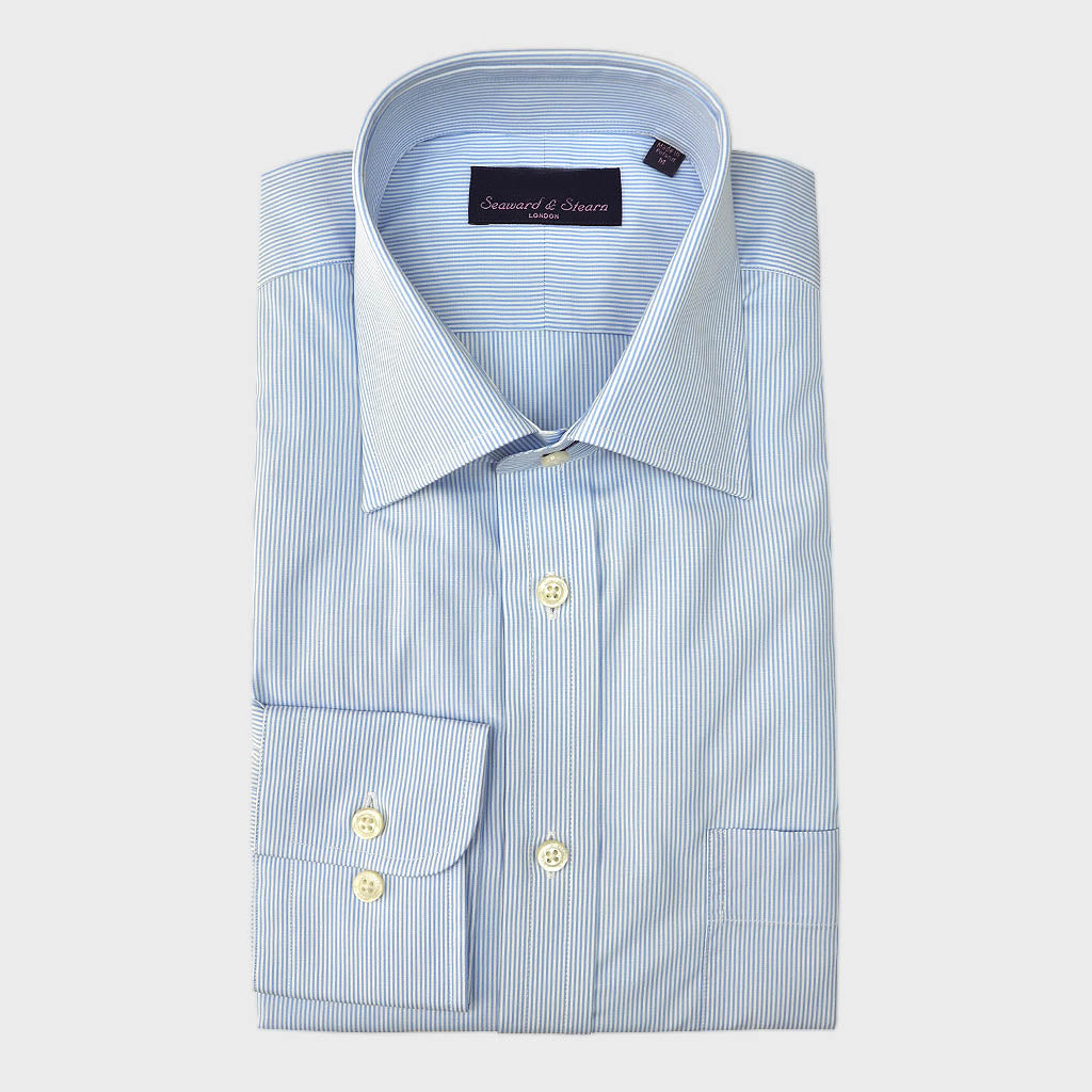 Classic Collar Light Blue Pin Stripe Cotton Shirt