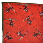 Reversible Skier & Paisley Panama Silk Pocket Square in Red