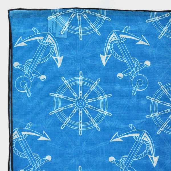 Nautical Pocket Square in Ocean Blue