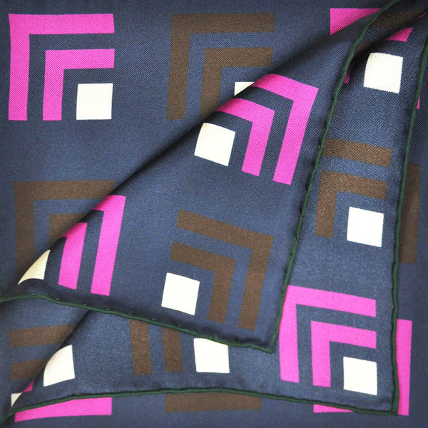 Art Deco Groove English Silk Pocket Square in Navy & Pink