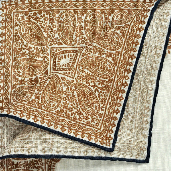 Fancy Border Linen Pocket Square in White & Brown
