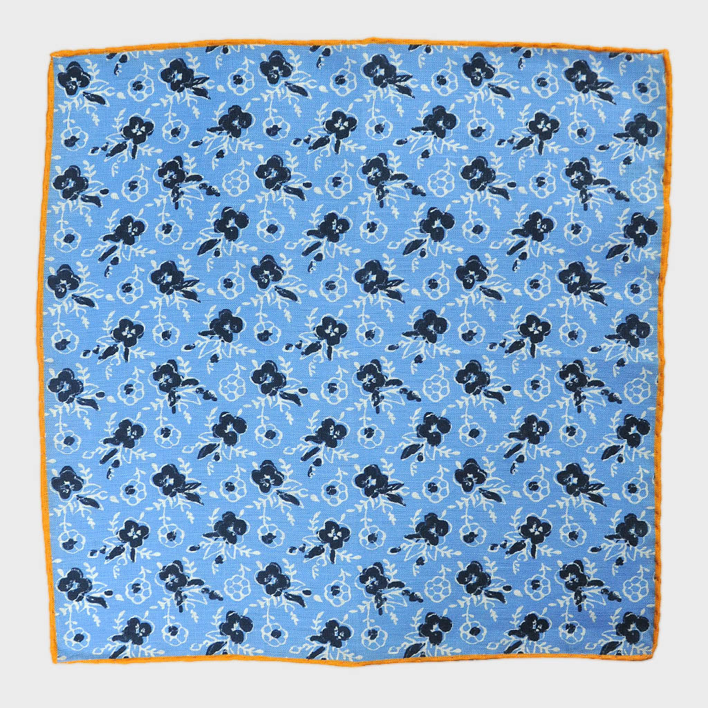 Spring Flower Linen Pocket Square in Blue