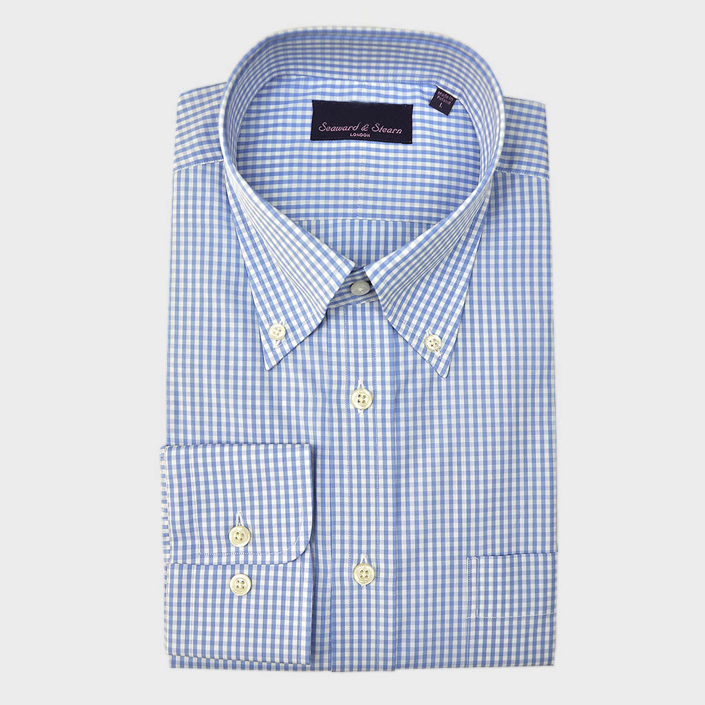 Button Down Light Blue Small Gingham Cotton Shirt