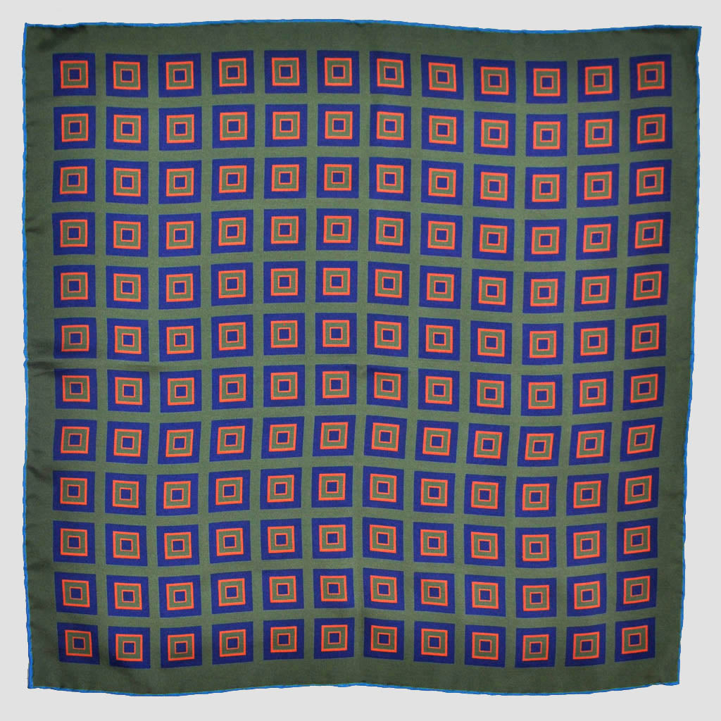 English Silk Geometric Squares Pocket Square in Green & Blue