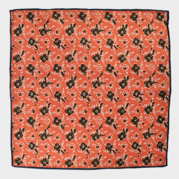 Spring Flower Linen Pocket Square in Orange