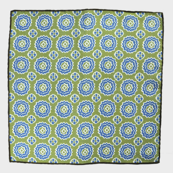 Repeat Floret Linen Pocket Square in Shamrock Green