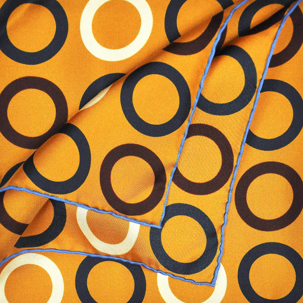 Groovy Hoops English Silk Pocket Square in Antique Gold