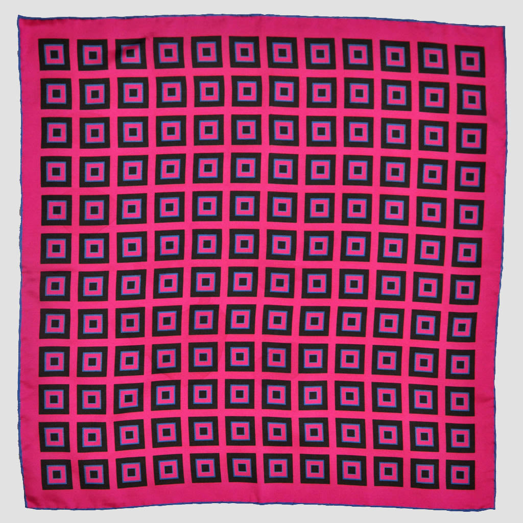 English Silk Geometric Squares Pocket Square in Pink & Navy