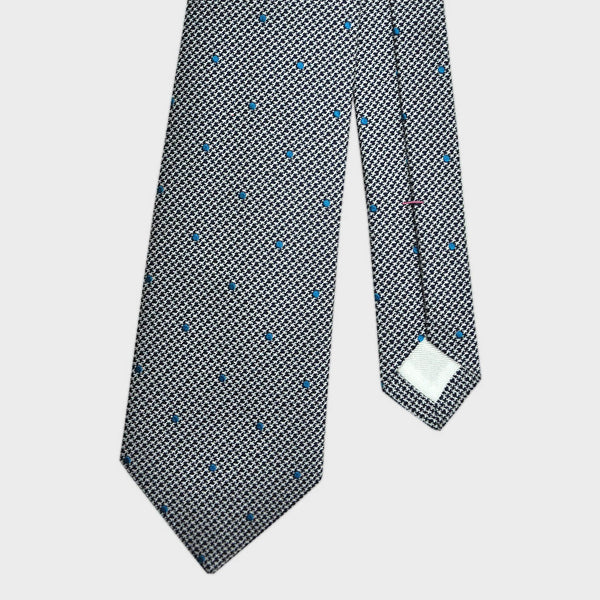 English Woven Silk Dotty Hounds Tooth Tie