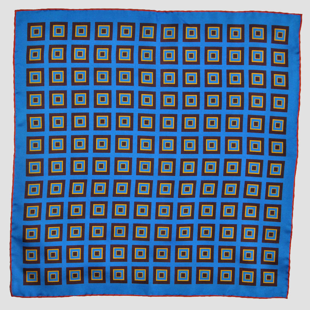 English Silk Geometric Squares Pocket Square in Blue & Claret