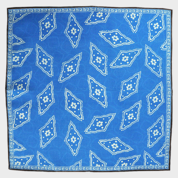 Florets & Geo's Ocean Blue Reversible Panama Silk Pocket Square