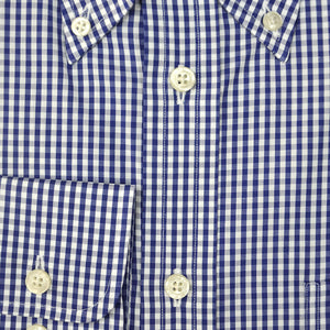 Button Down Navy Blue Gingham Cotton Shirt