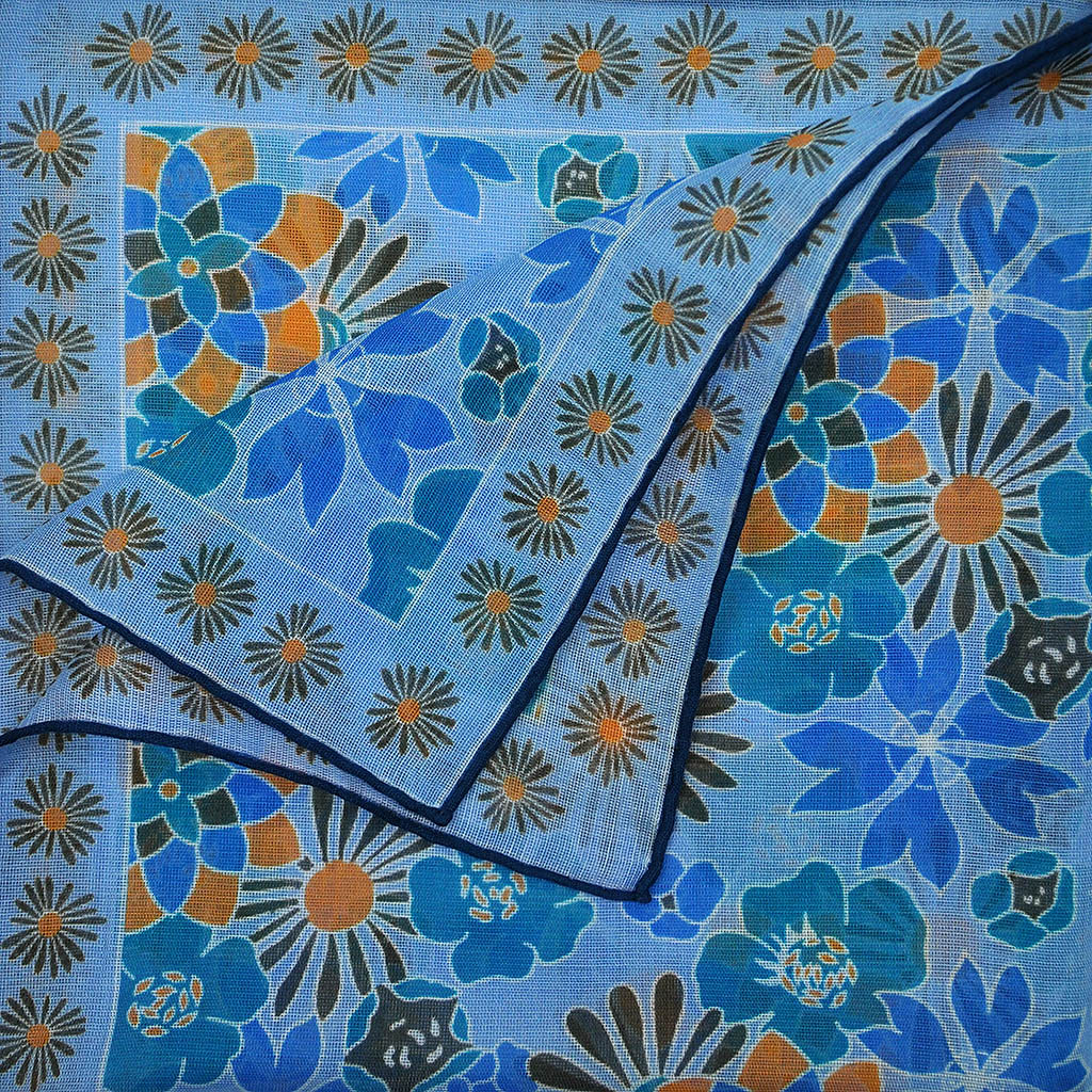 Flower Garden Cotton & Cashmere Pocket Square in Blue
