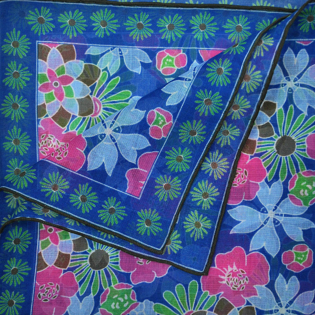 Flower Garden Cotton & Cashmere Pocket Square in Blue & Pink