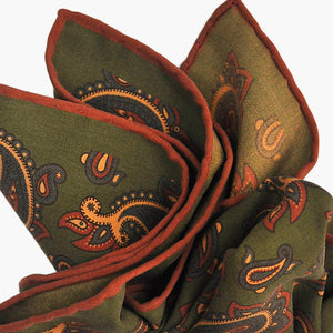 Ancient Madder Paisley Silk Pocket Square in Olive Green