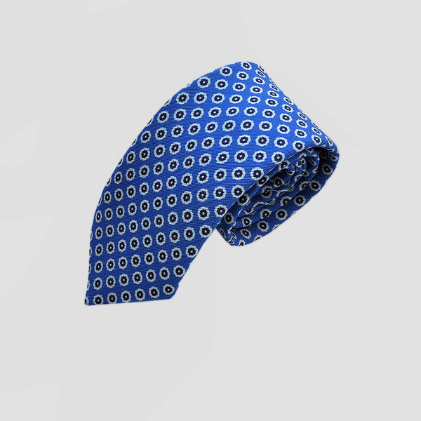 English Printed Silk Repeat Floret Tie