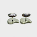 Sterling Silver Teardrop Cufflink with enamelled Charcoal
