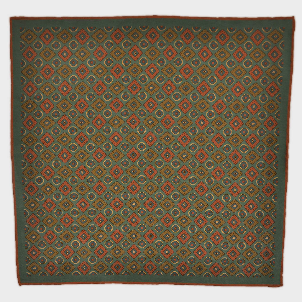 Ancient Madder Aztec Medallions Silk Pocket Square in Sage Green