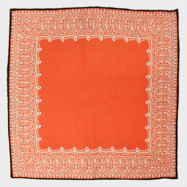 Fancy Border Linen Pocket Square in Scarlet Red