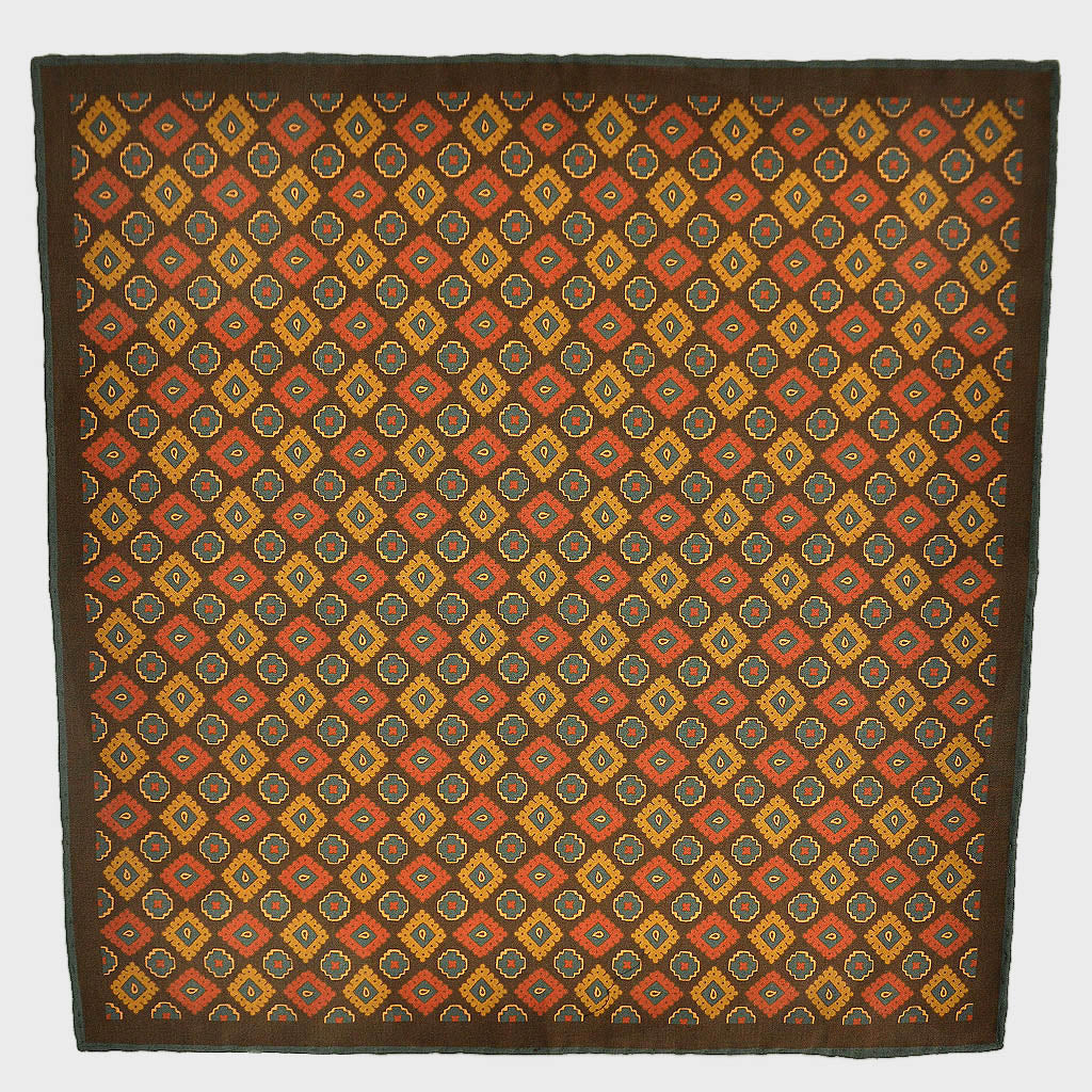 Ancient Madder Aztec Medallions Silk Pocket Square in Brown & Ochre
