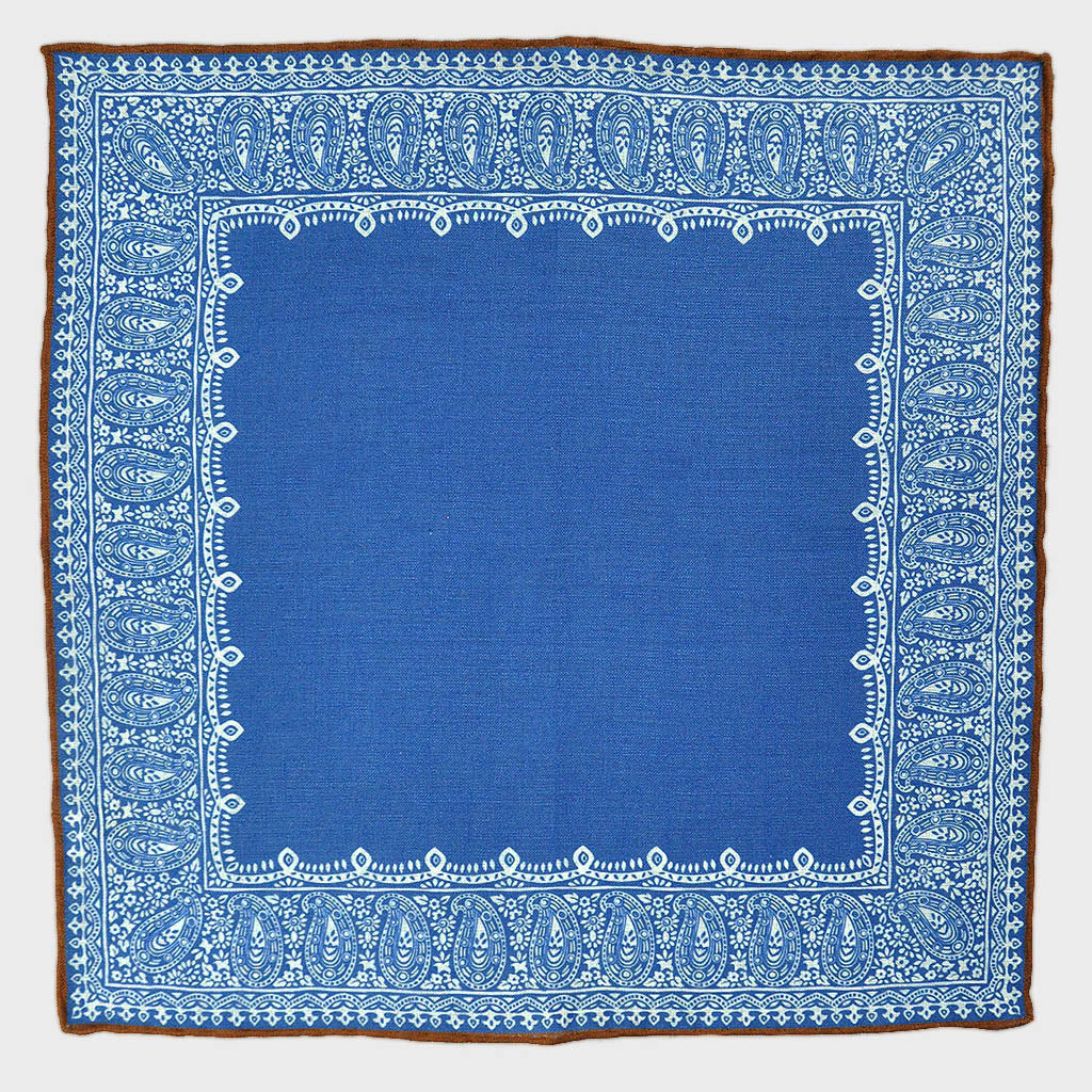 Fancy Border Linen Pocket Square in Sapphire Blue