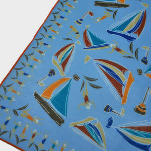 Boats & Bathers Cotton & Cashmere Pocket Square in Not So Deep Blue