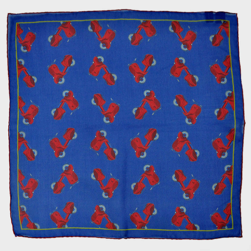Blue with Red Scooter Silk Pocket Square