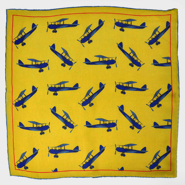 Acrobatic Plane Silk Pocket Square in Yellow