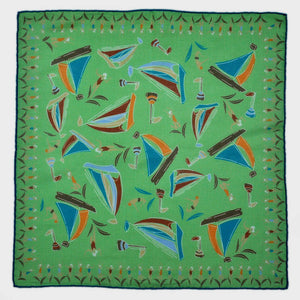 Boats & Bathers Cotton & Cashmere Pocket Square in Lime