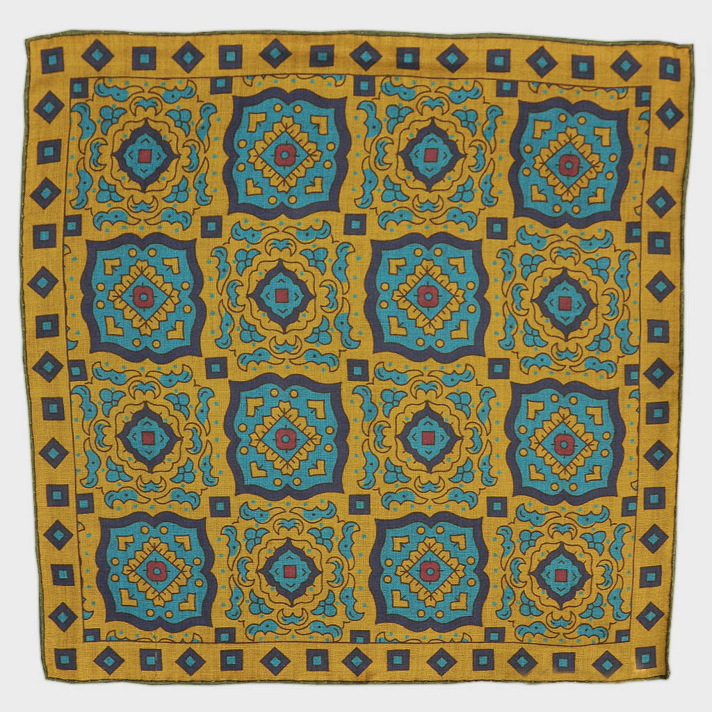 Medallion Wool & Silk Pocket Square in Ochre & Teal