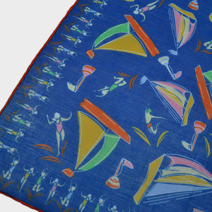 Boats & Bathers Cotton & Cashmere Pocket Square in Deep Ocean Blue