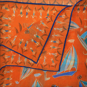 Boats & Bathers Cotton & Cashmere Pocket Square in Orange