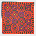 Medallion Wool & Silk Pocket Square in Red
