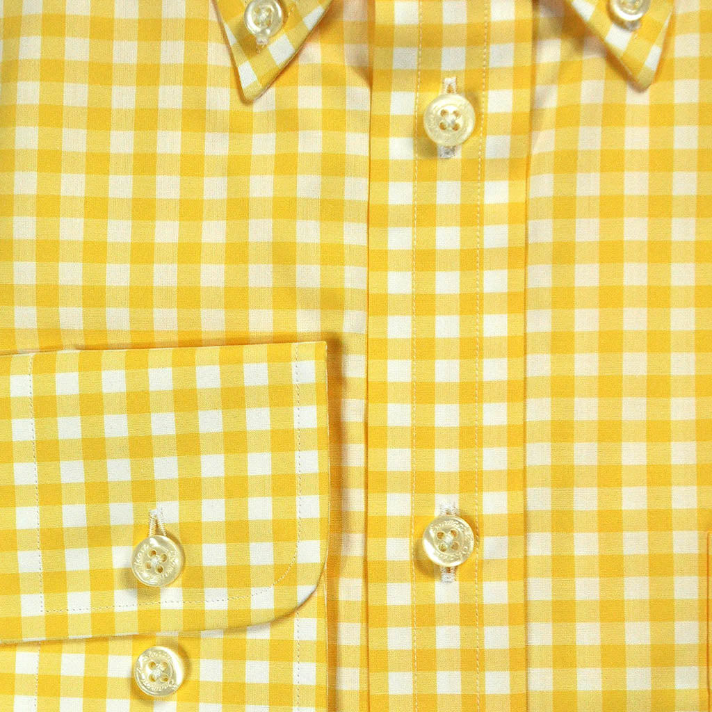 Button Down Collar Yellow Gingham Cotton Shirt