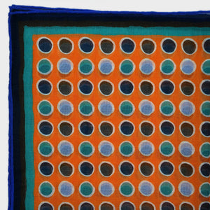 A lot of Dot Cotton & Cashmere Pocket Square in Orange, Teal & Blue