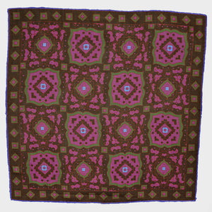 Medallion Wool & Silk Pocket Square in Brown & Pink