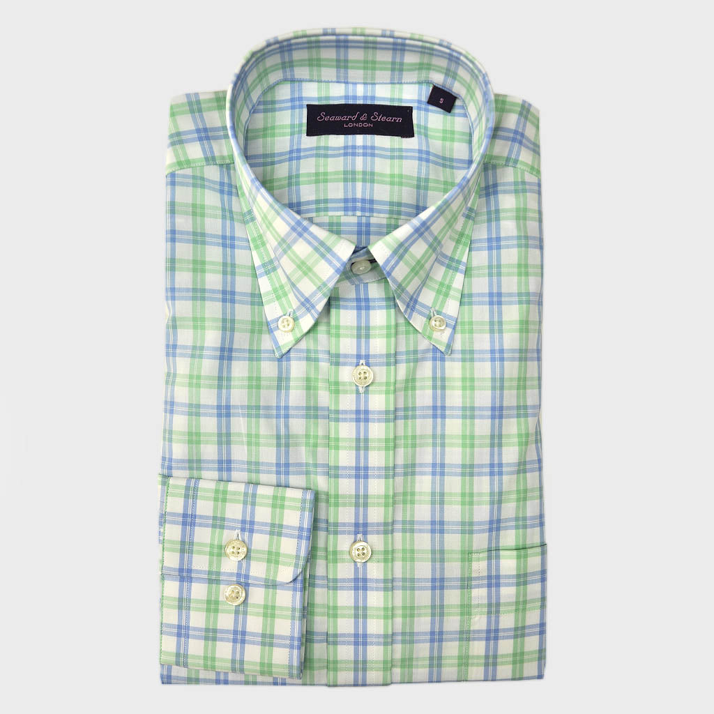 Button Down Light Blue & Lime Sport Check Cotton Shirt