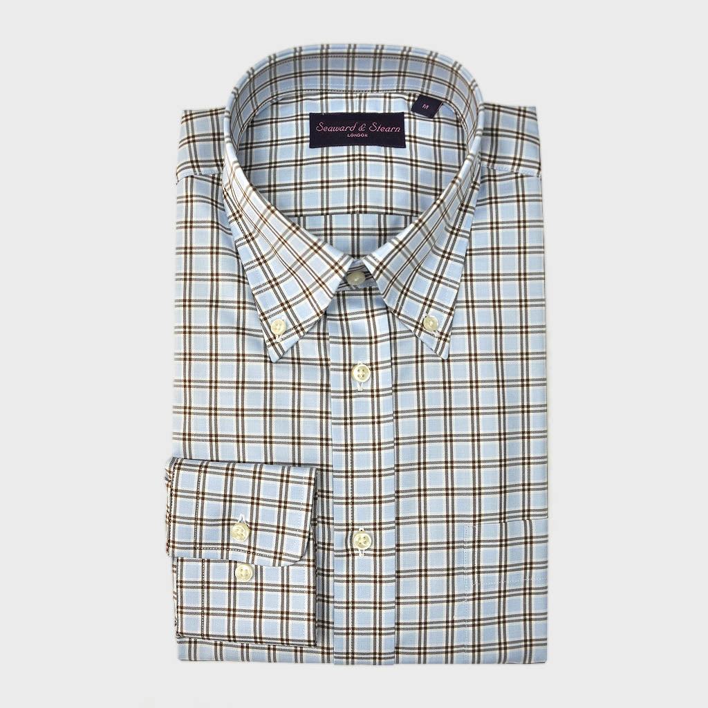 Button Down Light Blue & Brown Sport Check Cotton Shirt