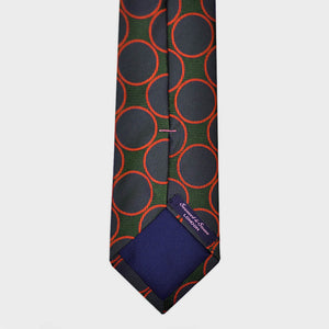 Hoops & Circles Woven Silk Tie in Navy, Red & Green