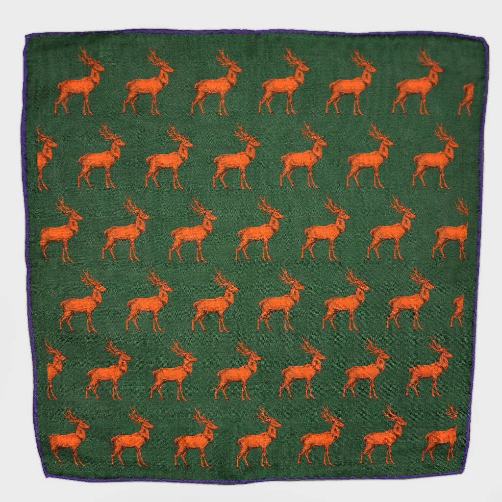 Stag Repeat Wool & Silk Pocket Square in Bottle Green