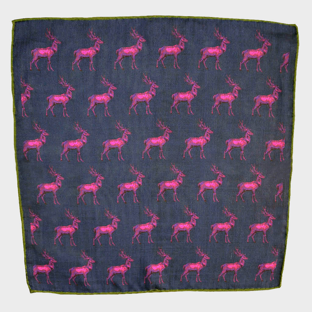 Stag Repeat Wool & Silk Pocket Square in Navy