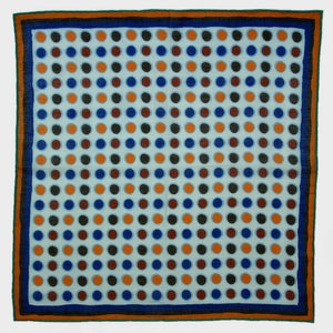 A lot of Dot Cotton & Cashmere Pocket Square in White, Blue & Ochre