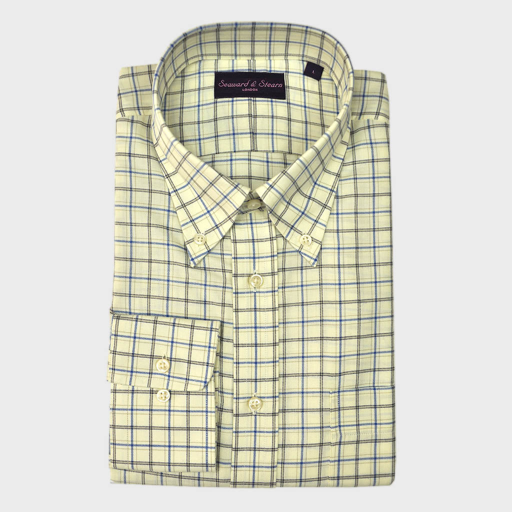 Button Down Cream & Blue Sport Check Cotton Shirt