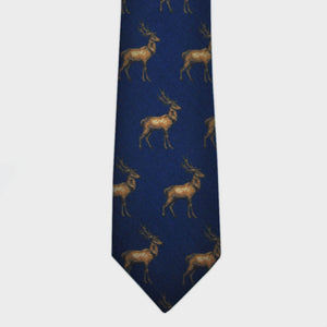 Majestic Stag Print Wool Tie in Blue